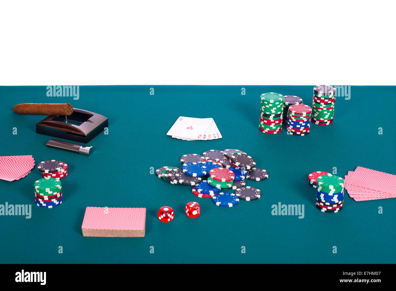 Poker table background - Stock Photo Value Poker Chips On A Green Felt Poker Table Background And One Hand Of A Full House With White Background