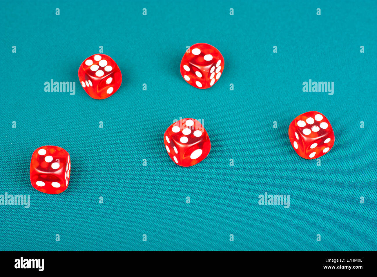 Poker table background - Five Dice On The Green Poker Table Background