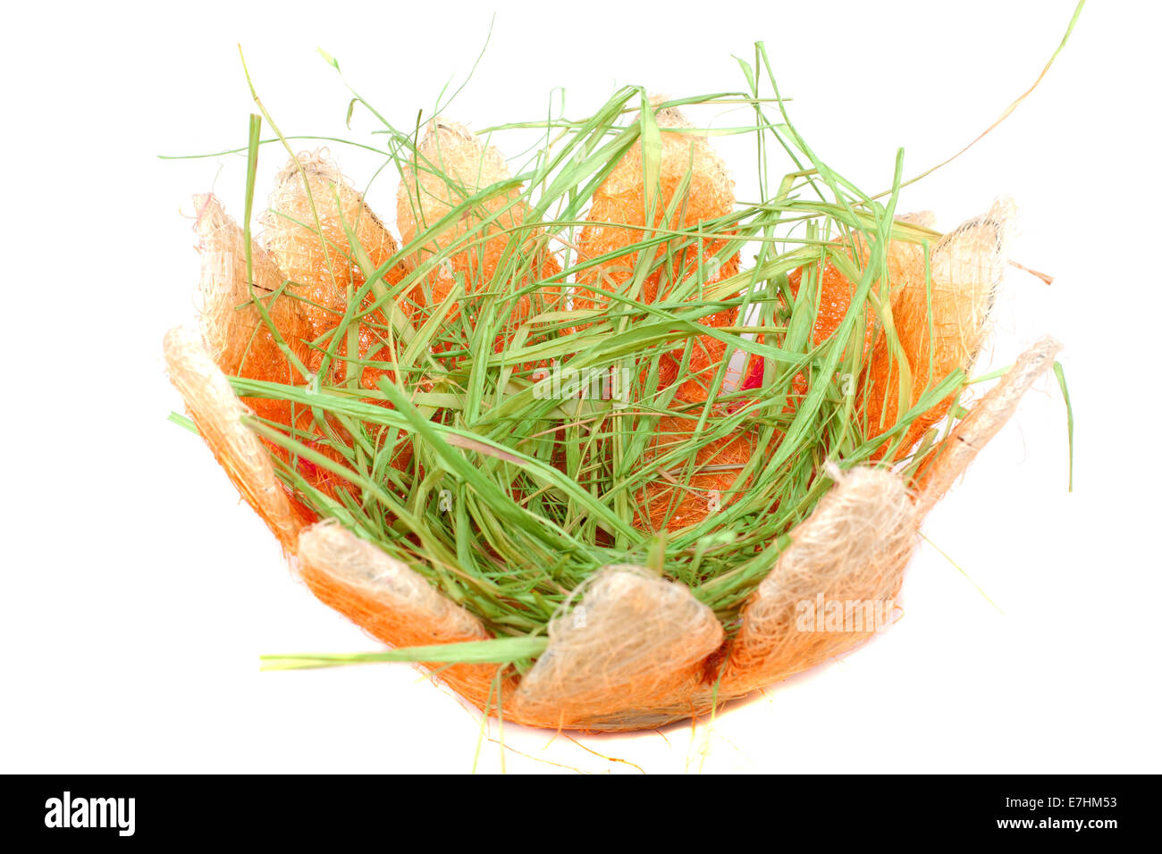 Empty Easter Basket With Green Grass Over White Background
