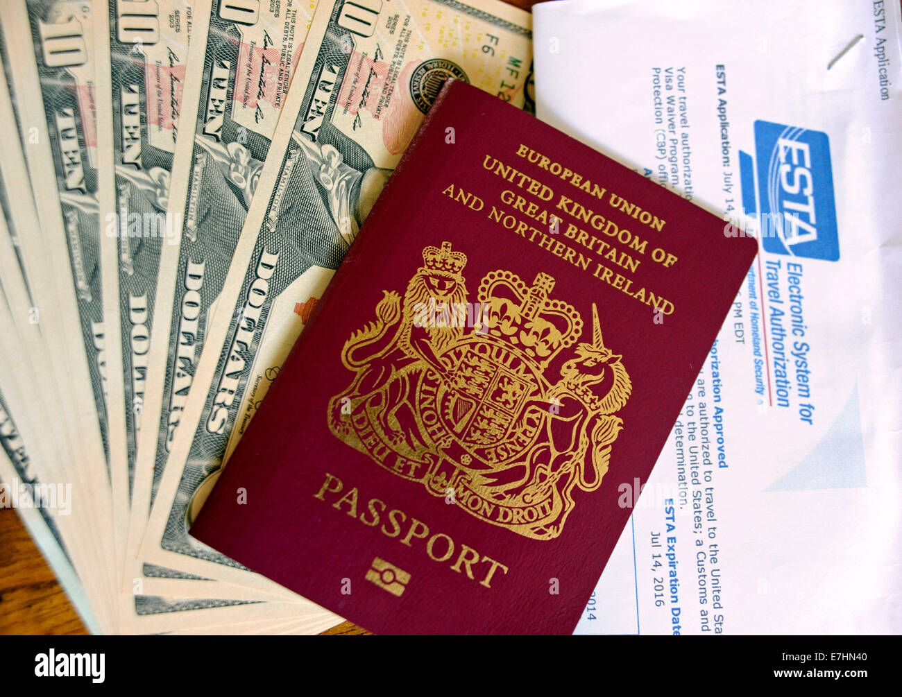 United kingdom british passport with united states esta united kingdom british passport with united states esta application form and us dollars notes ready for holiday falaconquin