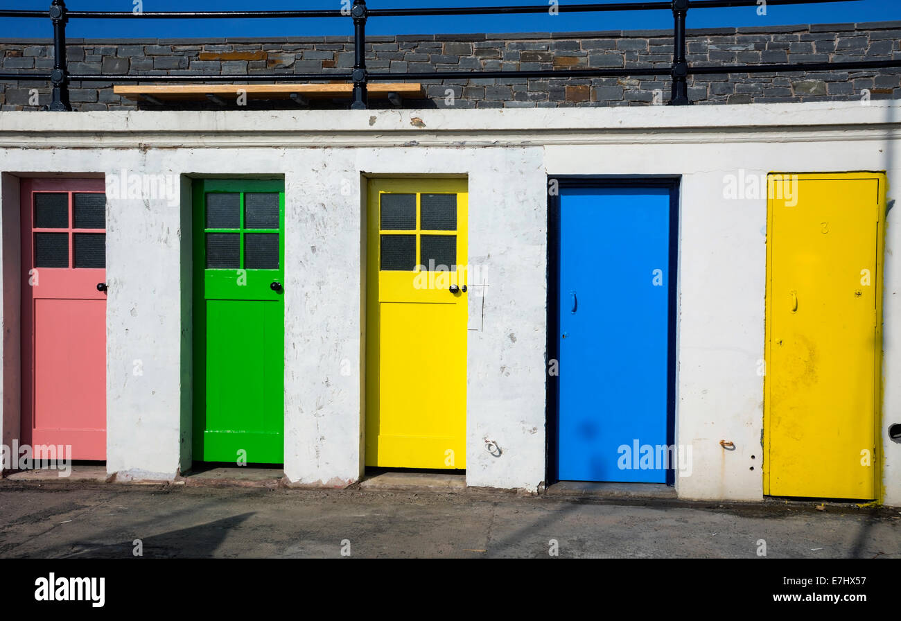 Colourful doors to former outdoor swimming pool changing rooms near the harbour at North Berwick  sc 1 st  Alamy & Colourful doors to former outdoor swimming pool changing rooms near ...