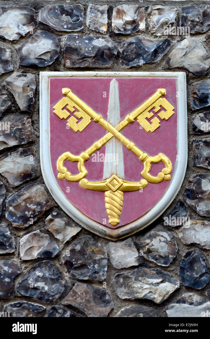 London, England, UK. Church House In Deans Yard, Westminster. Coat Of Arms  Set In The Outside Wall: Diocese Of Exeter