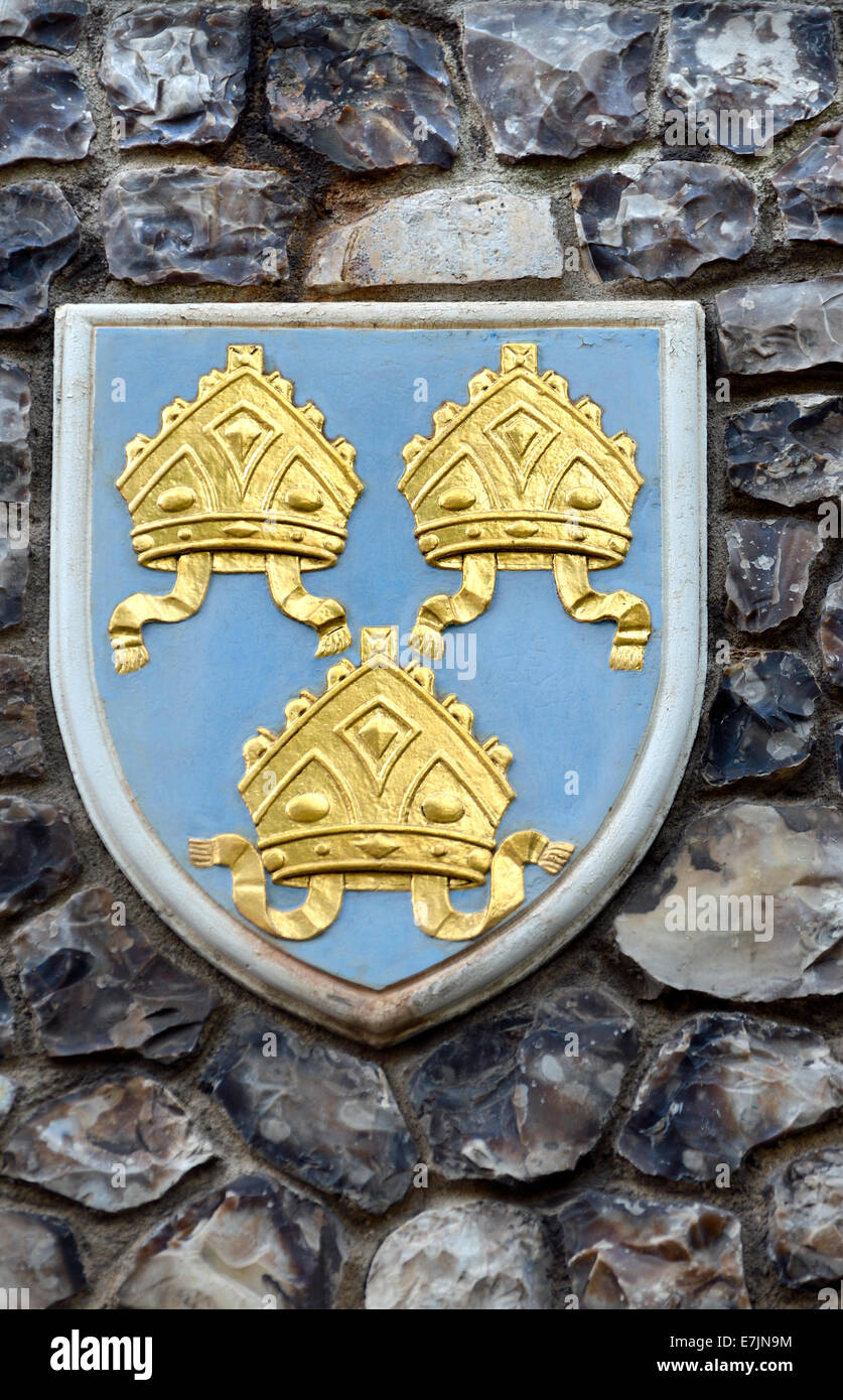 London, England, UK. Church House In Deans Yard, Westminster. Coat Of Arms  Set In The Outside Wall: Diocese Of Norwich