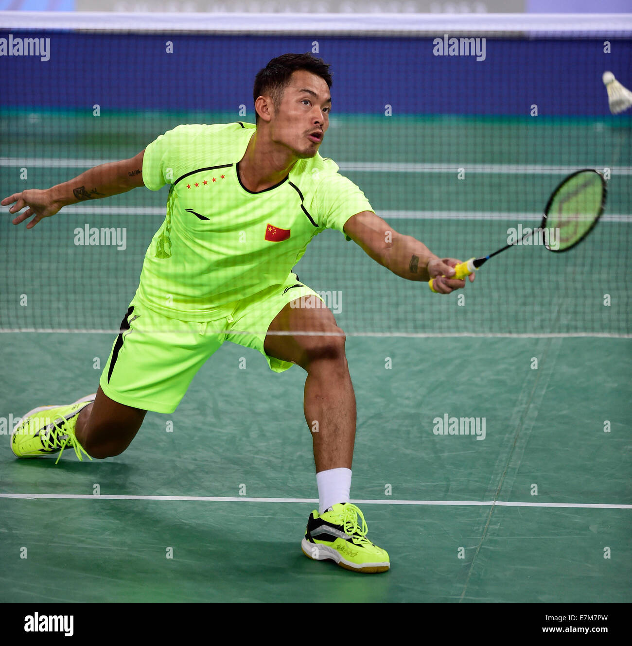 Incheon South Korea 21st Sep 2014 Lin Dan of China returns the