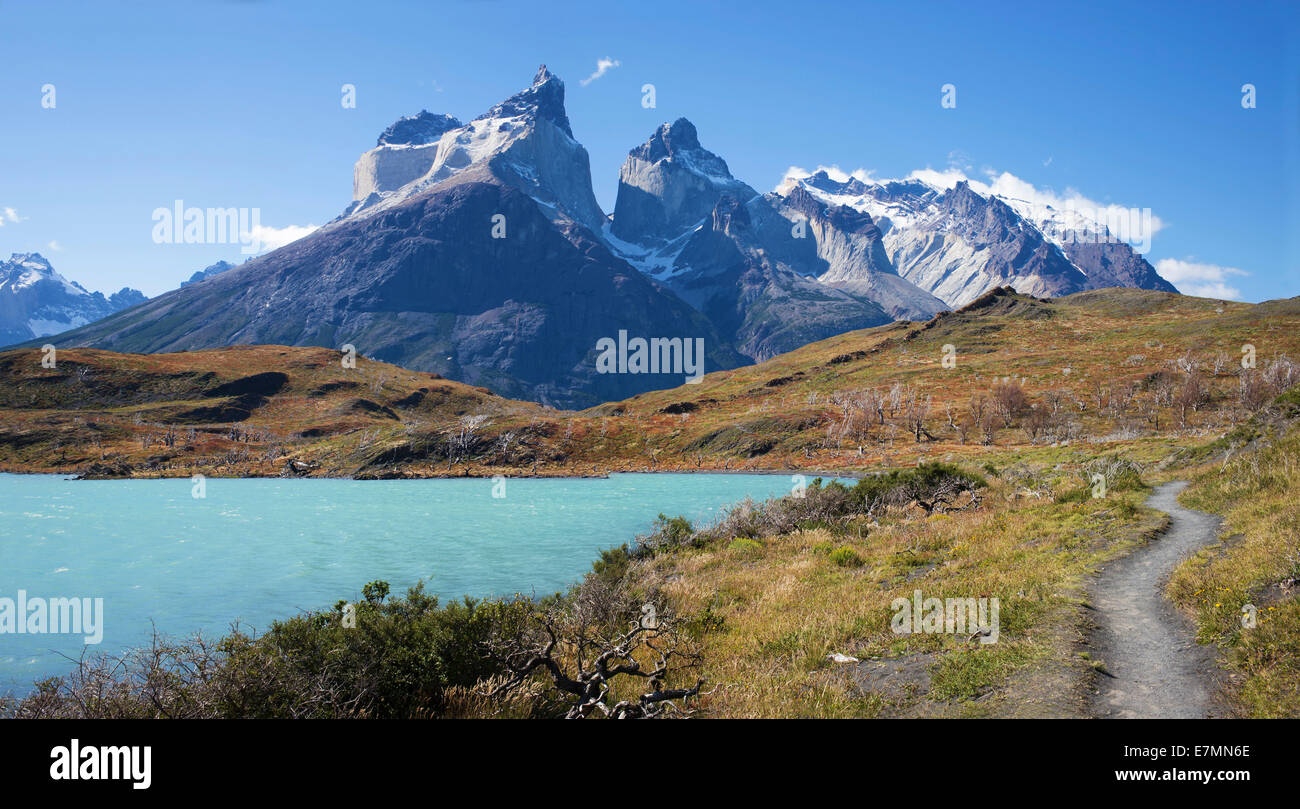 Trail into the torres del paine mountain range stock photo trail into the torres del paine mountain range sciox Gallery