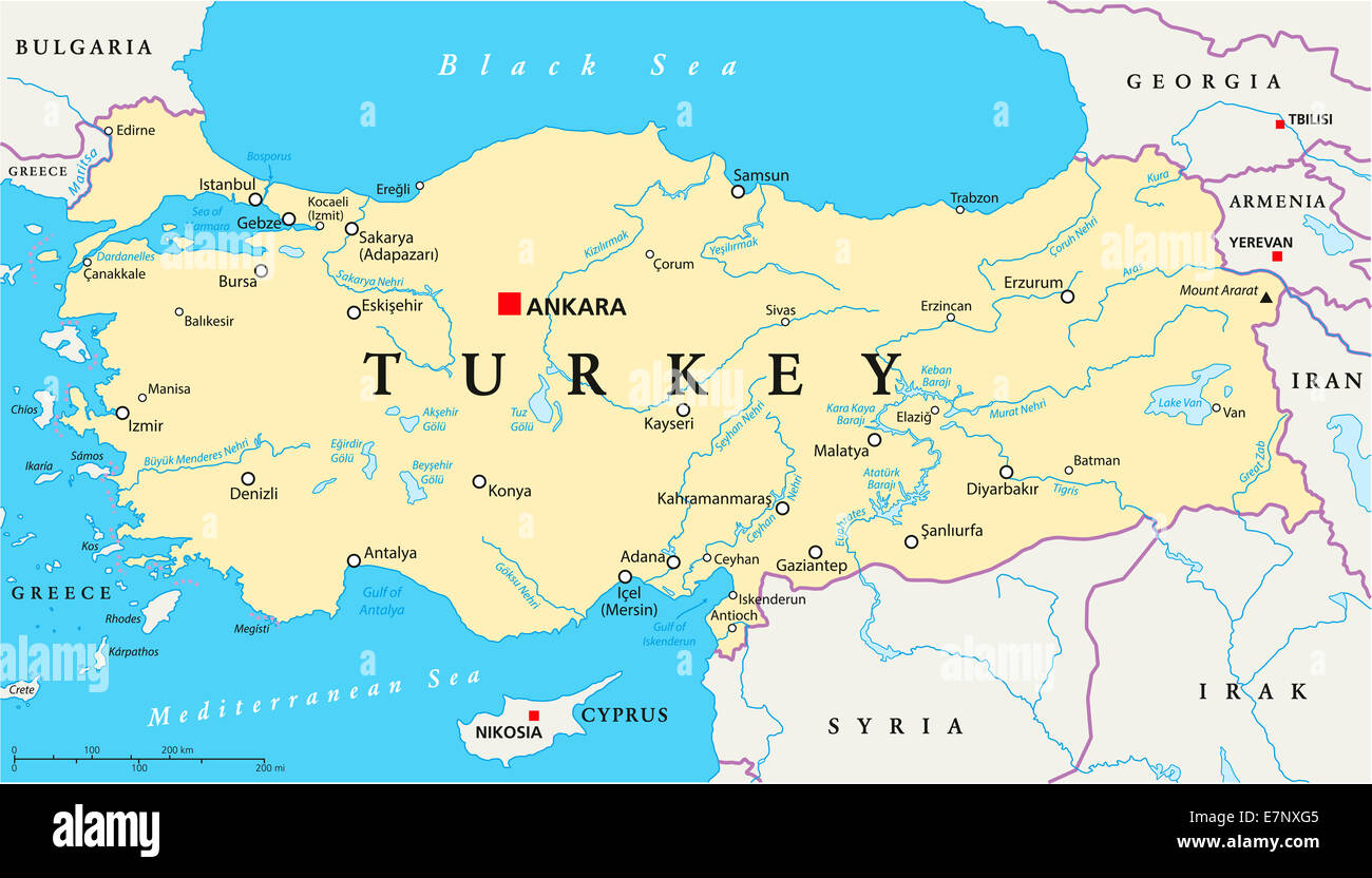 Turkey Political Map With Capital Ankara National Borders Most - Mersin map