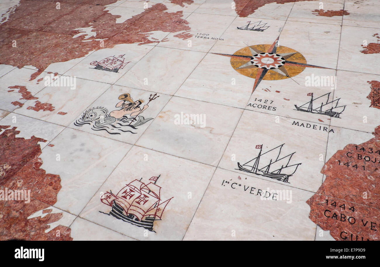 Portugal Lisbon Map On Monument To Discoveries Stock Photo - Portugal map lisbon