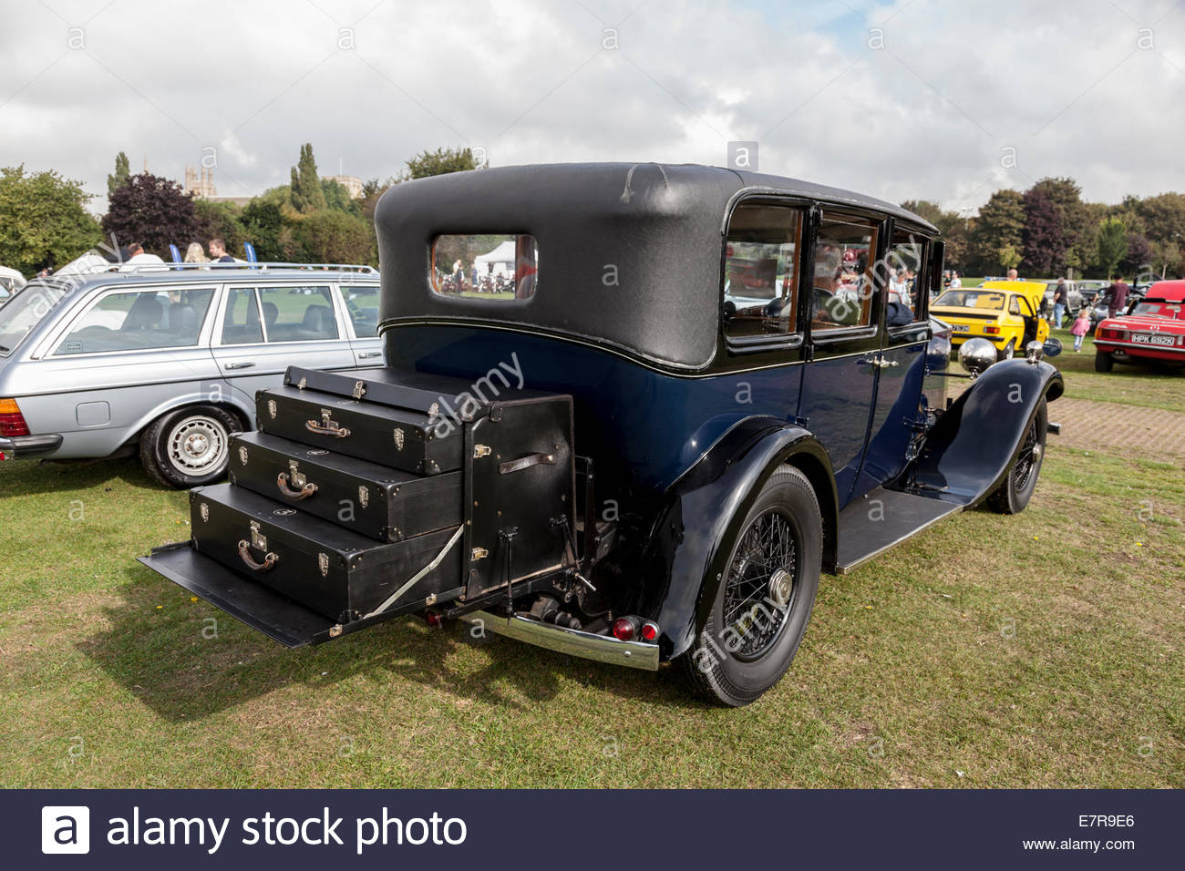 Luggage rack on the back of a Rolls Royce classic car Stock Photo ...