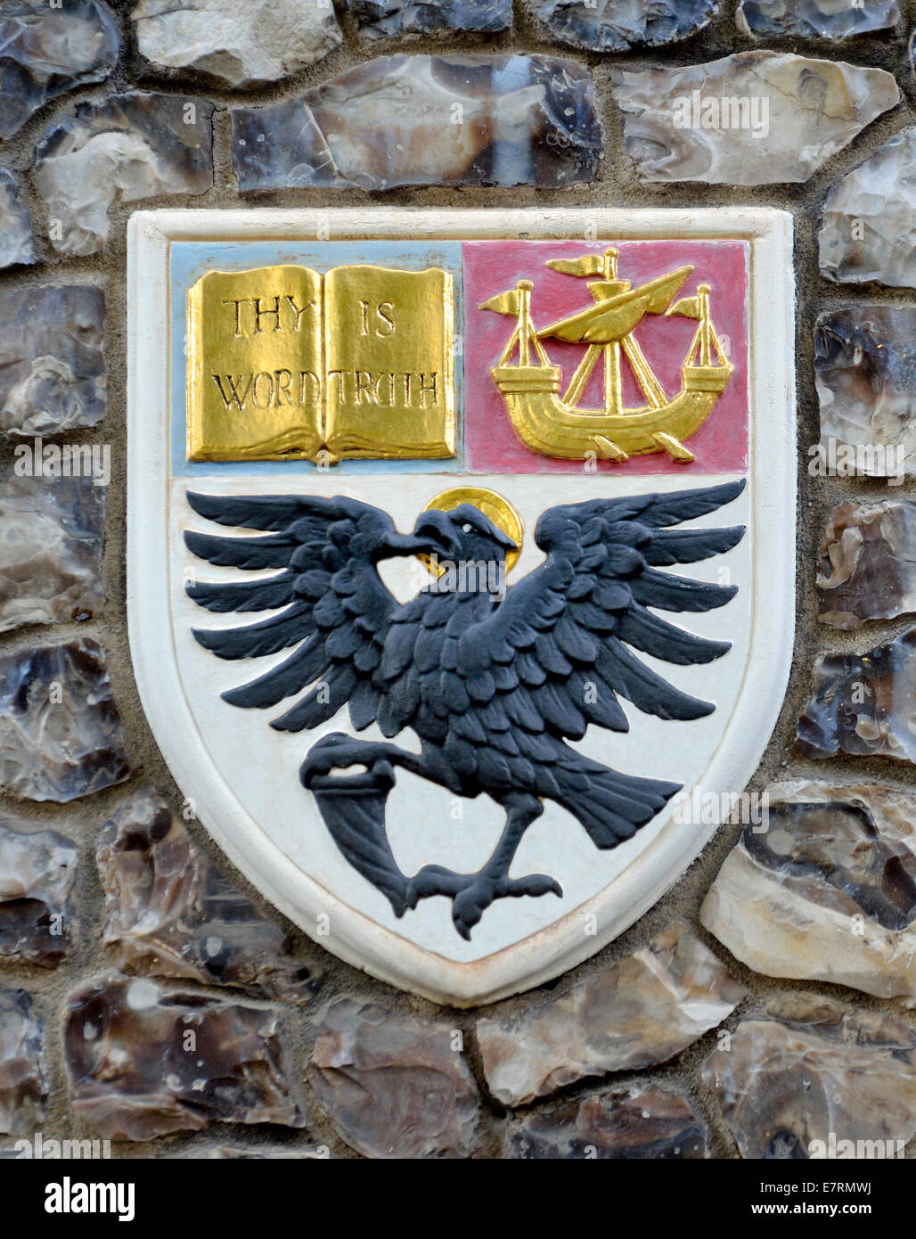 London, England, UK. Church House In Deans Yard, Westminster. Coat Of Arms  Set In The Outside Wall: Diocese Of Liverpool