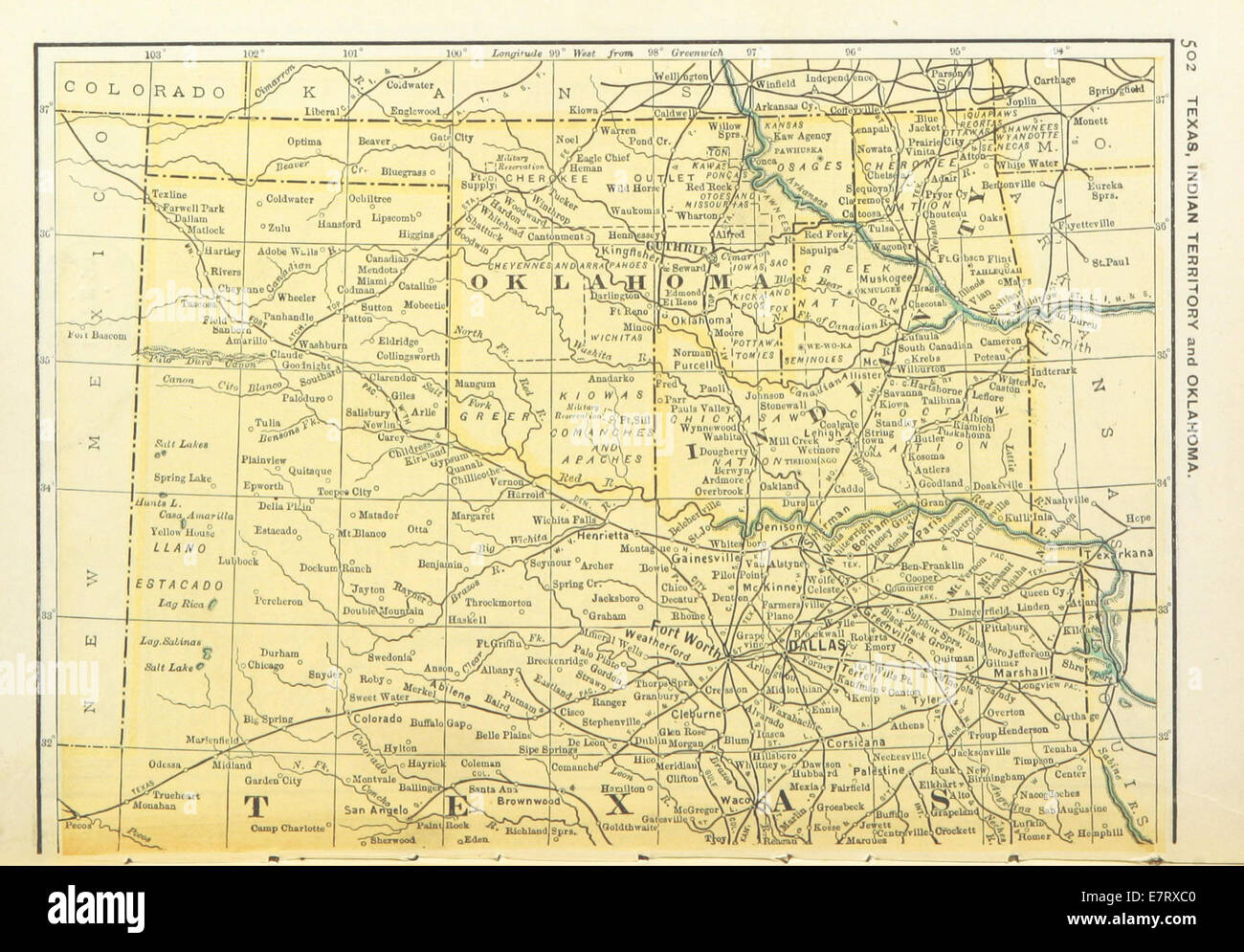 USMAPS1891 p504 MAP OF TEXAS OKLAHOMA AND INDIAN TERRITORY