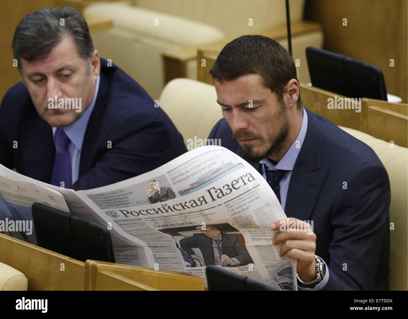 Moscow Russia 23rd Sep 2014 State Duma member Marat Safin R