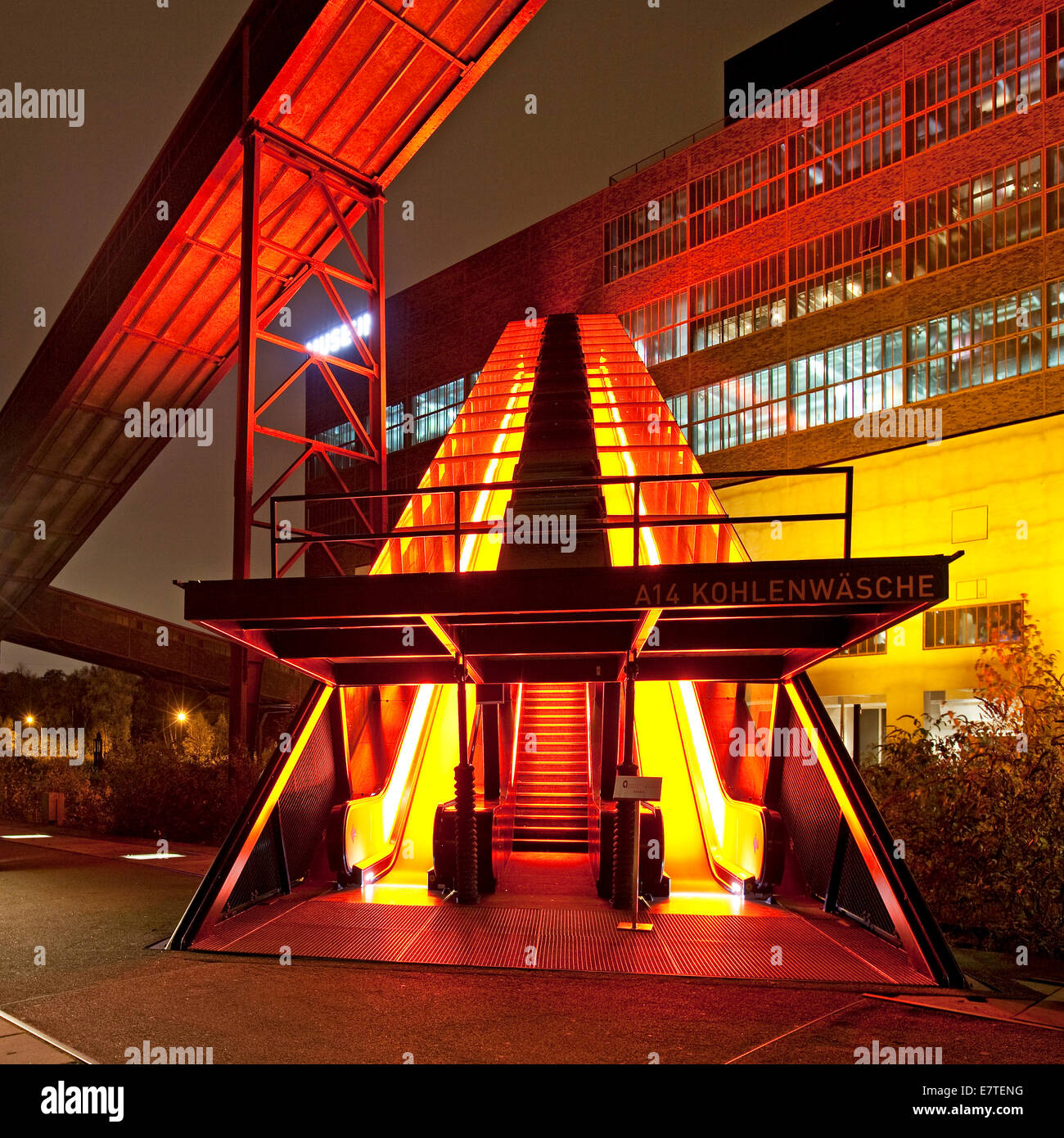 illuminated gangway to the ruhr museum at the zeche zollverein coal stock photo royalty free. Black Bedroom Furniture Sets. Home Design Ideas