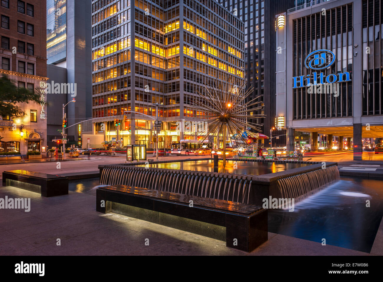 New york hilton midtown stock photos new york hilton midtown one of the water features near the hilton hotel in midtown manhattan new york sciox Image collections