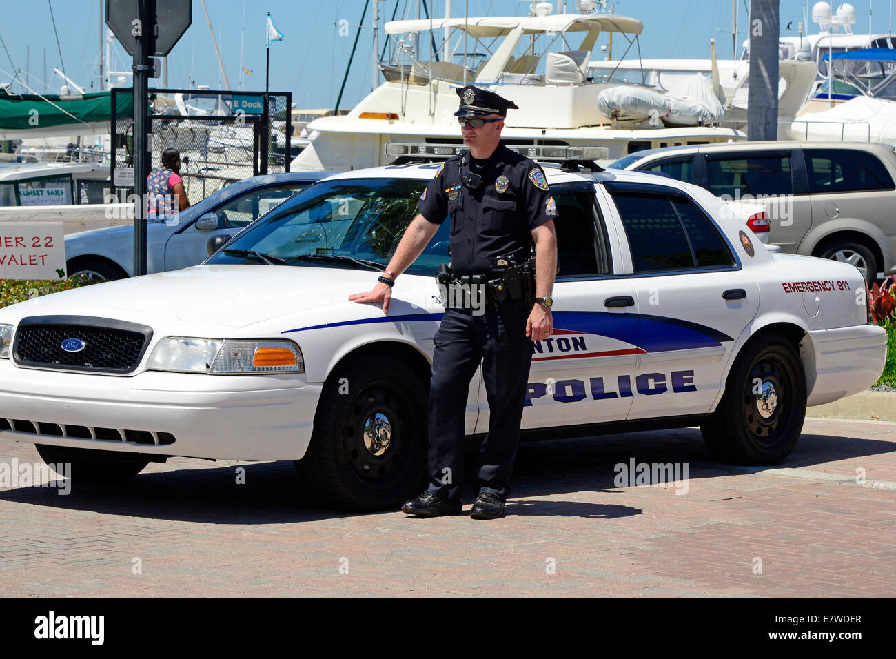Philadelphia Police Cars >> Policeman standing by his police car Stock Photo, Royalty Free Image: 73703471 - Alamy