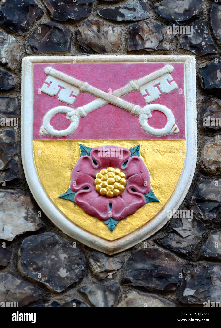 London, England, UK. Church House In Deans Yard, Westminster. Coat Of Arms  Set In The Outside Wall: Diocese Of Blackburn