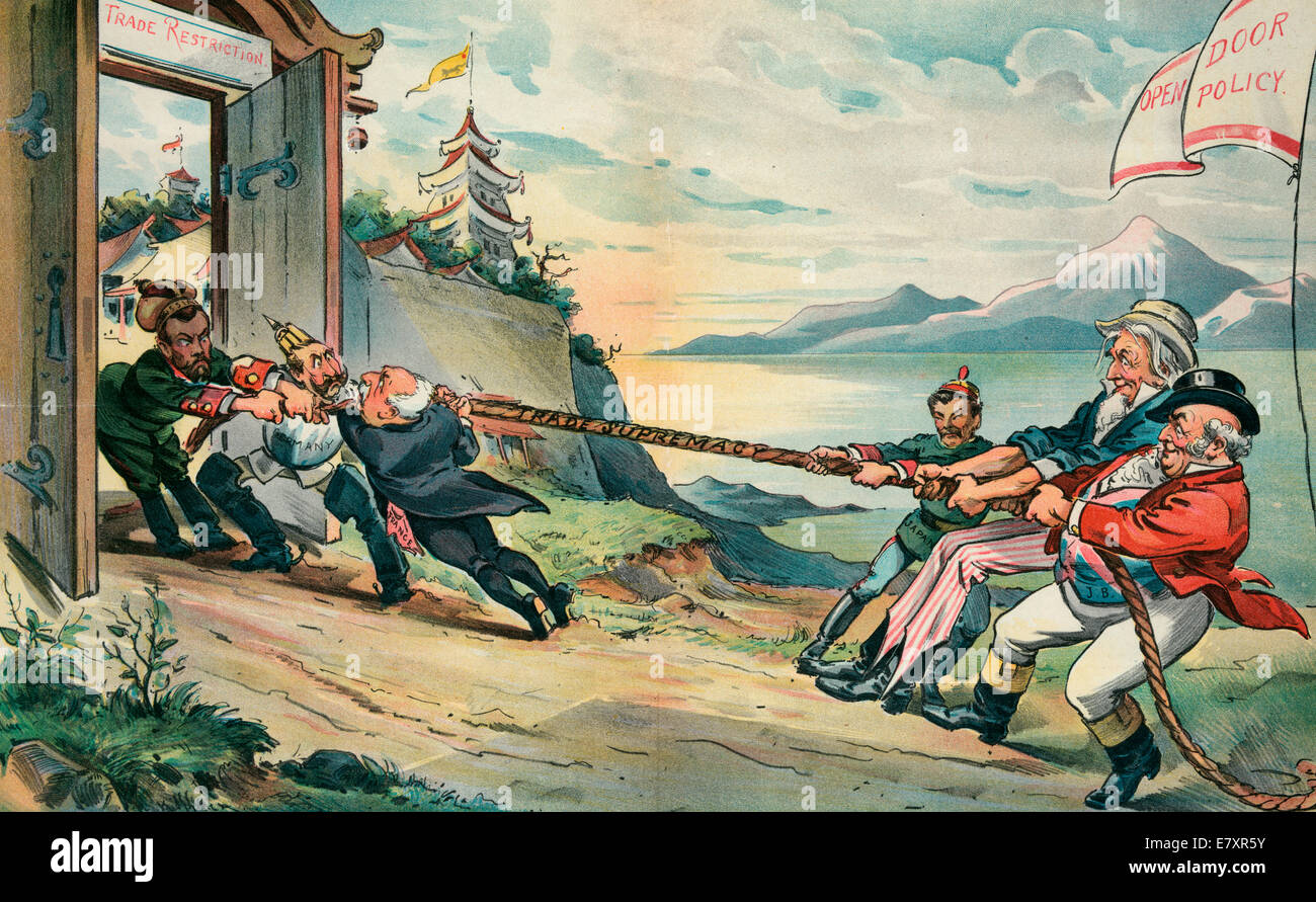 The Tug Of War In The Far East Uncle Sam With John Bull
