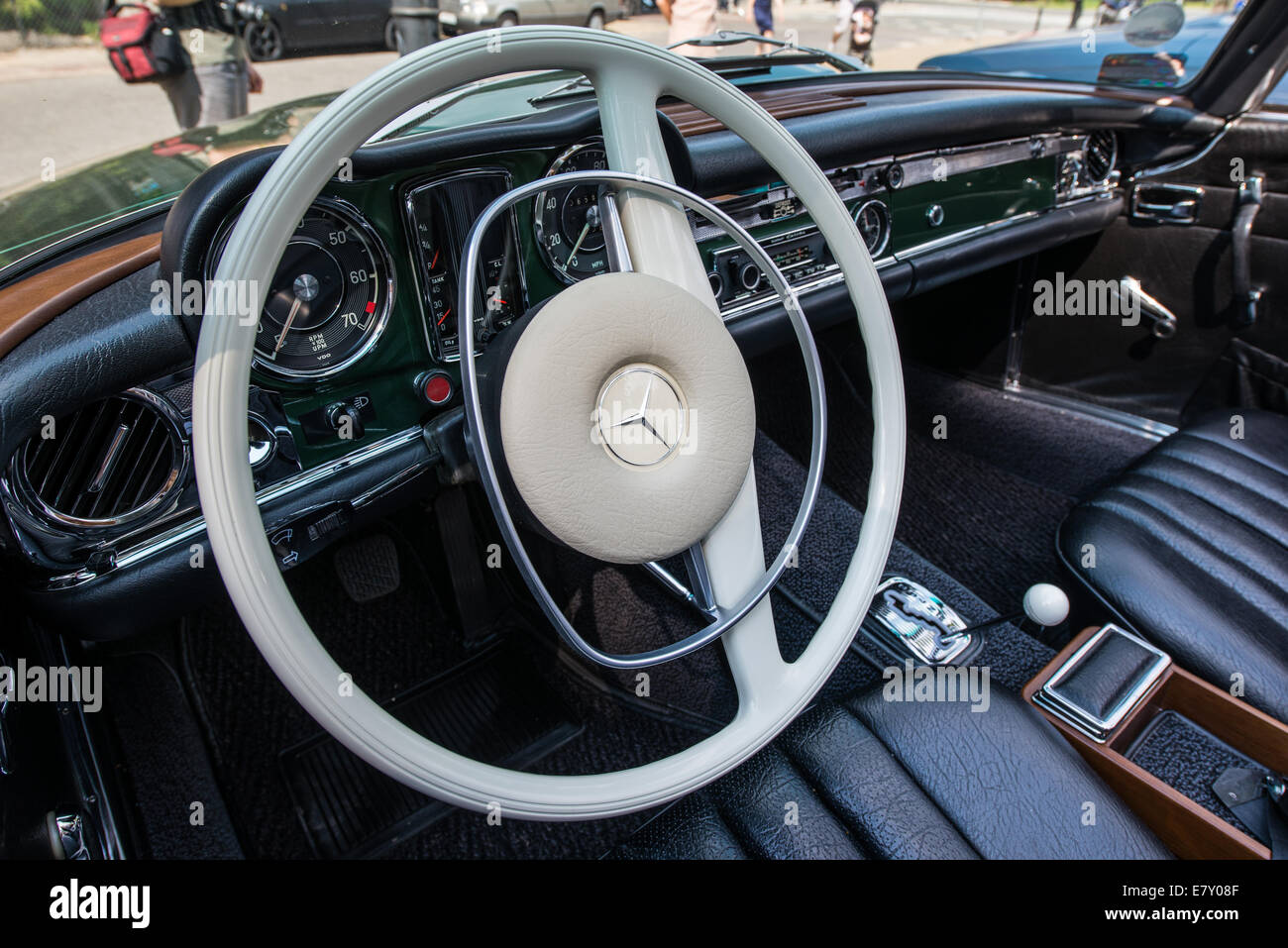 warsaw poland 27th july 2014 interior of mercedes benz w113 280 stock photo royalty free. Black Bedroom Furniture Sets. Home Design Ideas