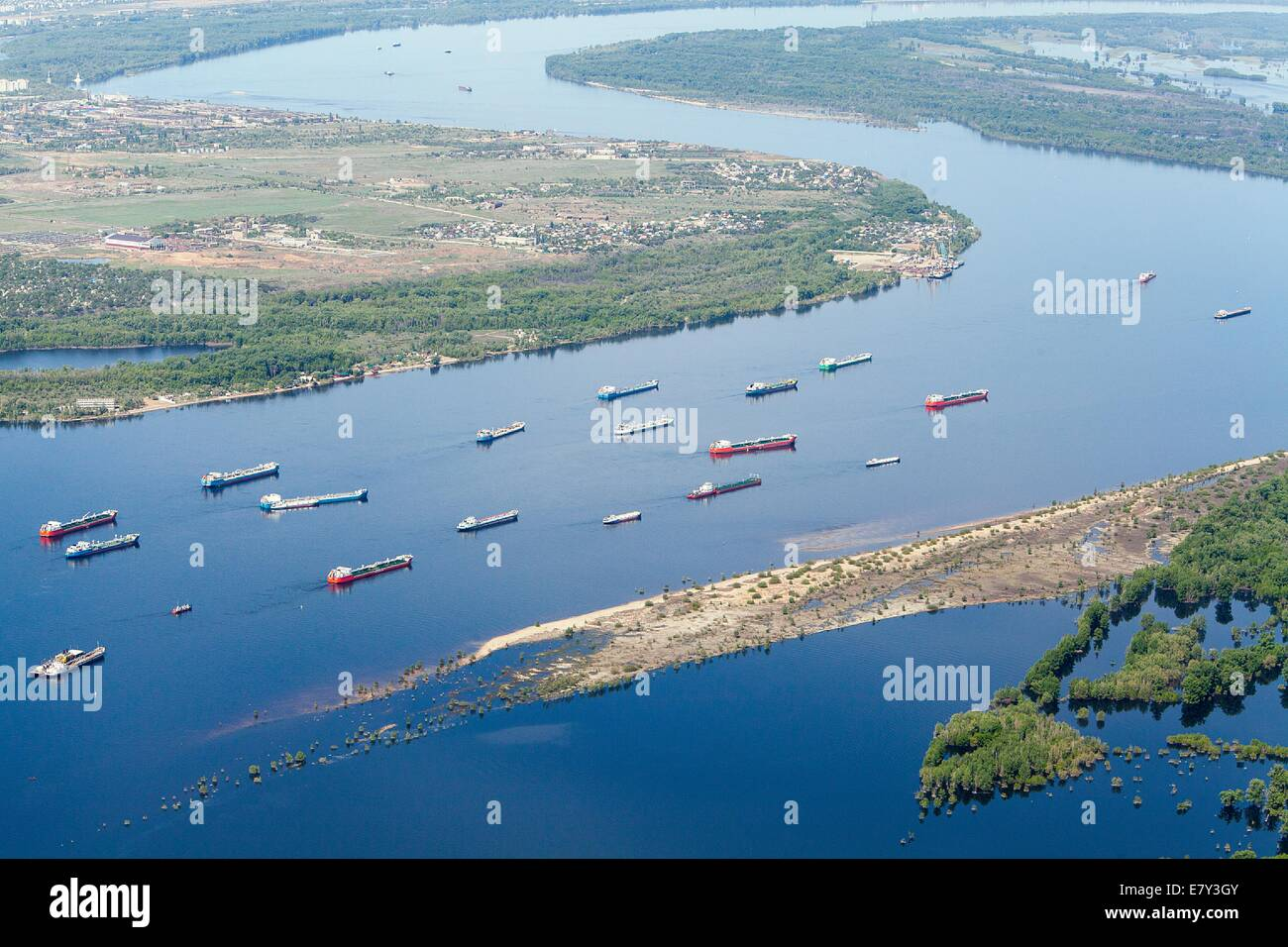Aerial View Of Volgograd Region Russia The Volga River Tank - The volga river