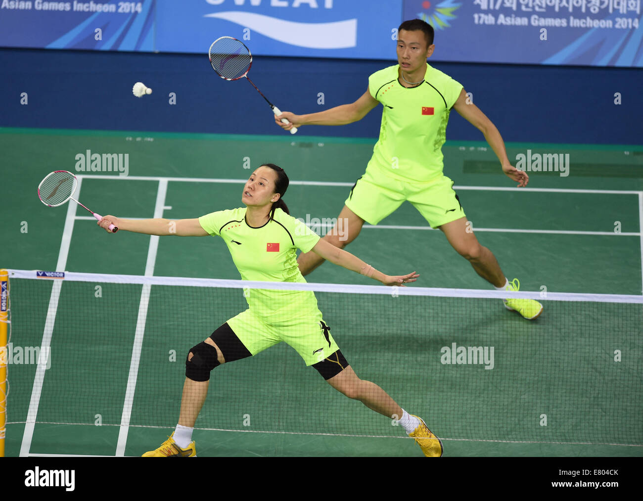 Incheon South Korea 27th Sep 2014 Zhang Nan Upper and Zhao