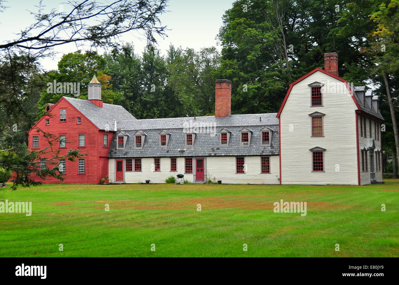 Deerfield, Massachusetts: The C. 1730 Dwight House With Its Attached Ell  And Red Barn *