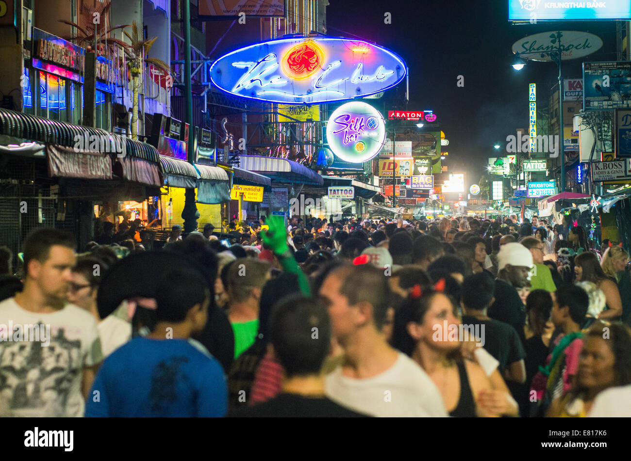 halloween party in Khaosan Road of Bangkok, with many backpackers ...