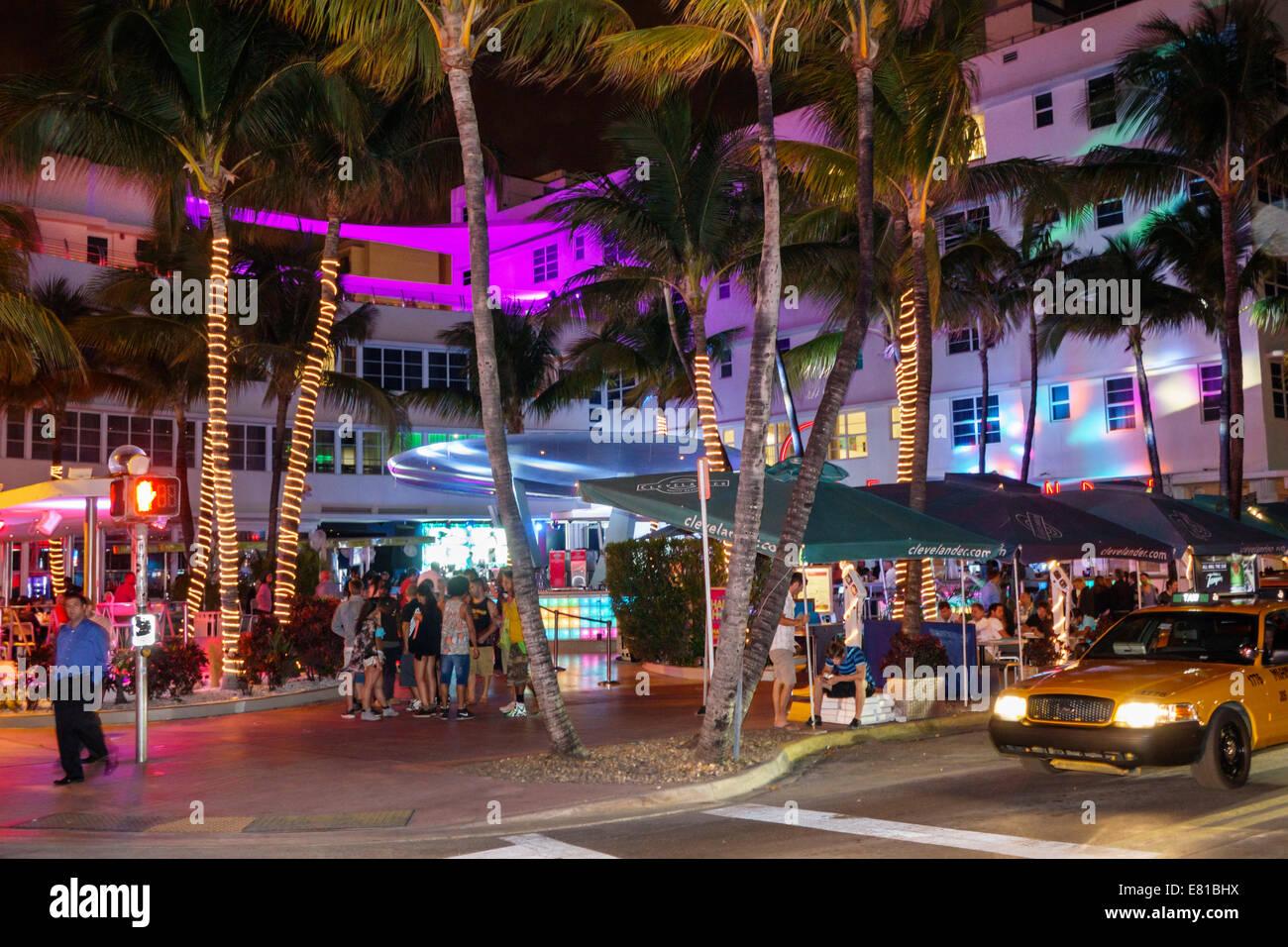 Miami Beach Florida South Art Deco District Ocean Drive Night Nightlife Clevelander Club Restaurant