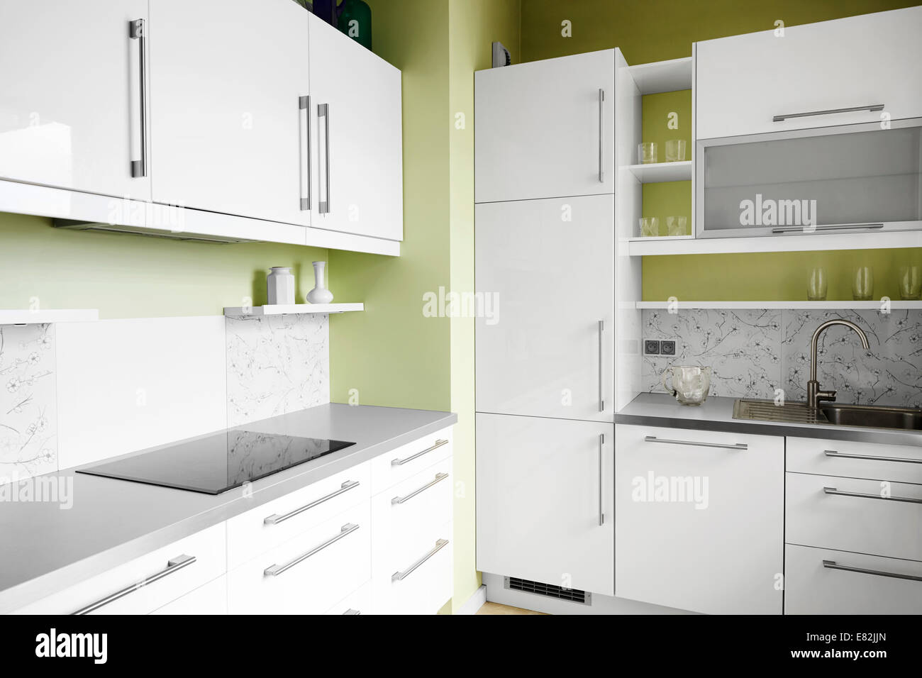 countertop background. Empty Simplicity Kitchen In White And Pistachio Colors. Can Be Used As A Background Countertop