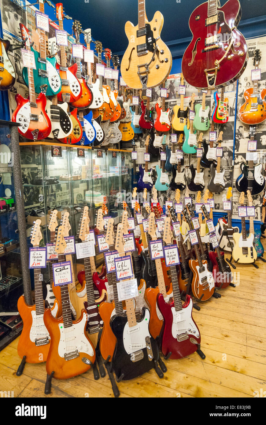 electric guitars in andy 39 s guitar shop in denmark street london stock photo royalty free image. Black Bedroom Furniture Sets. Home Design Ideas