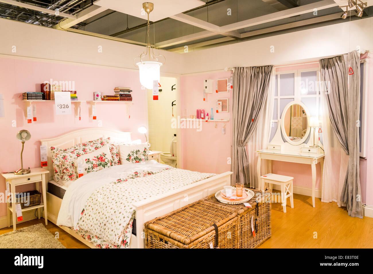 Display Bedroom In Ikea London England Uk Stock Photo