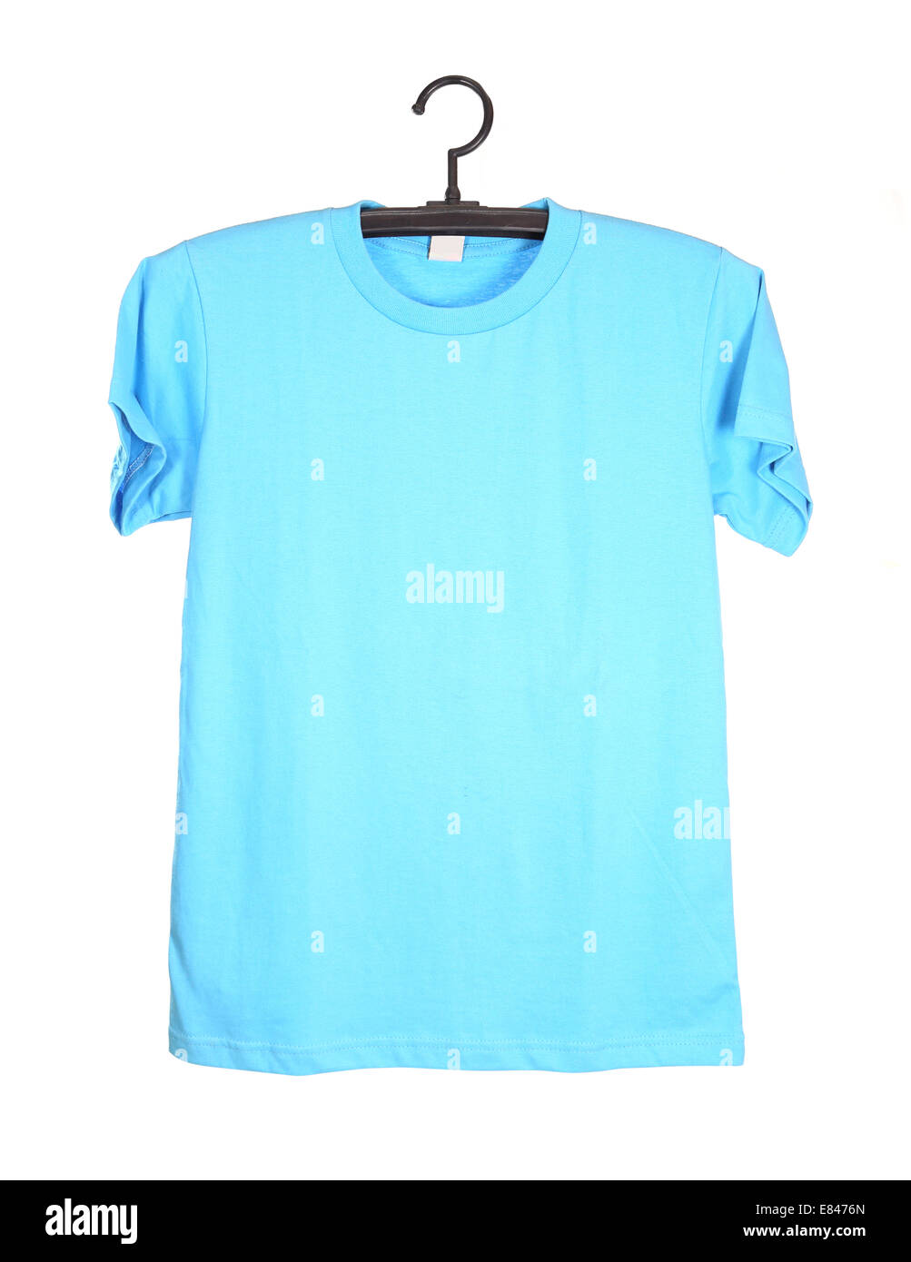 Blue t shirt template on hanger front side isolated on for Blue t shirt template