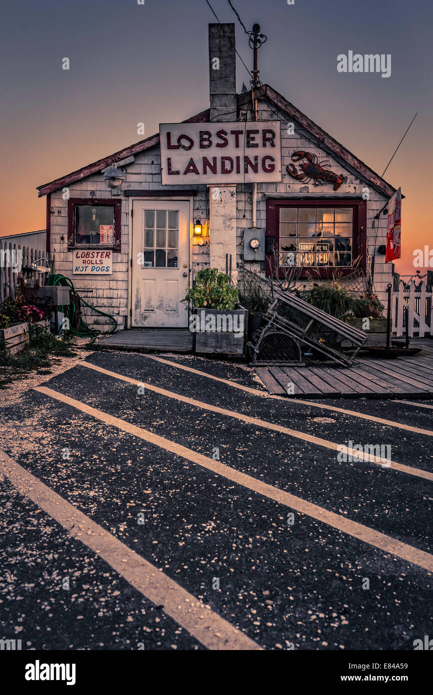 An old lobster shack restaurant on a New England pier at sunset Stock Photo, Royalty Free Image ...