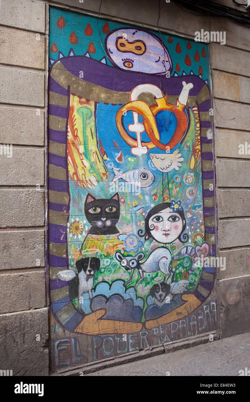 Mural street art in barcelona catalonia spain stock for Mural street art