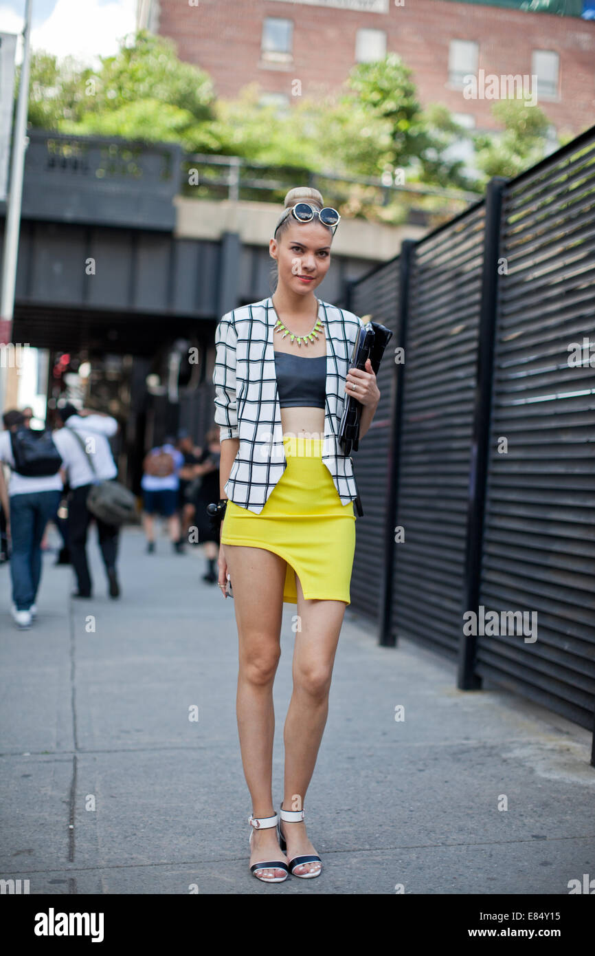 New York Women Fashion Week Ss 2014 Day 3 Street Style Featuring Stock Photo Royalty Free