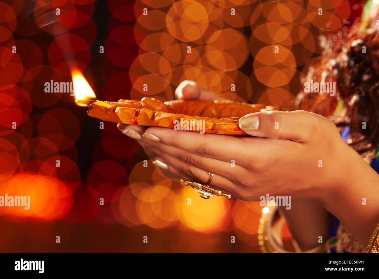 indian ladies diwali festival diya worship stock photo royalty