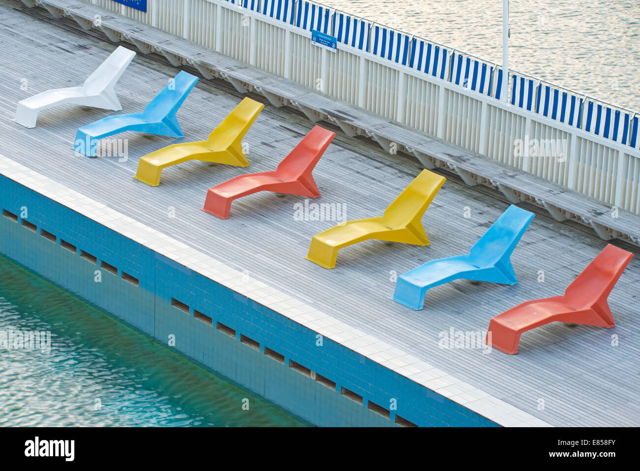 Deckchairs Beside The Pool At Parnell Baths, Auckland, North ...