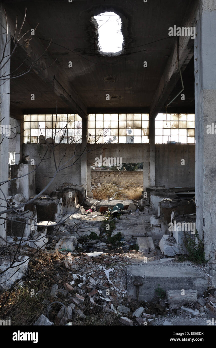 Abandoned Factory Interior Moldy Ceiling Dirty Floor And Concrete Walls Industrial Decline