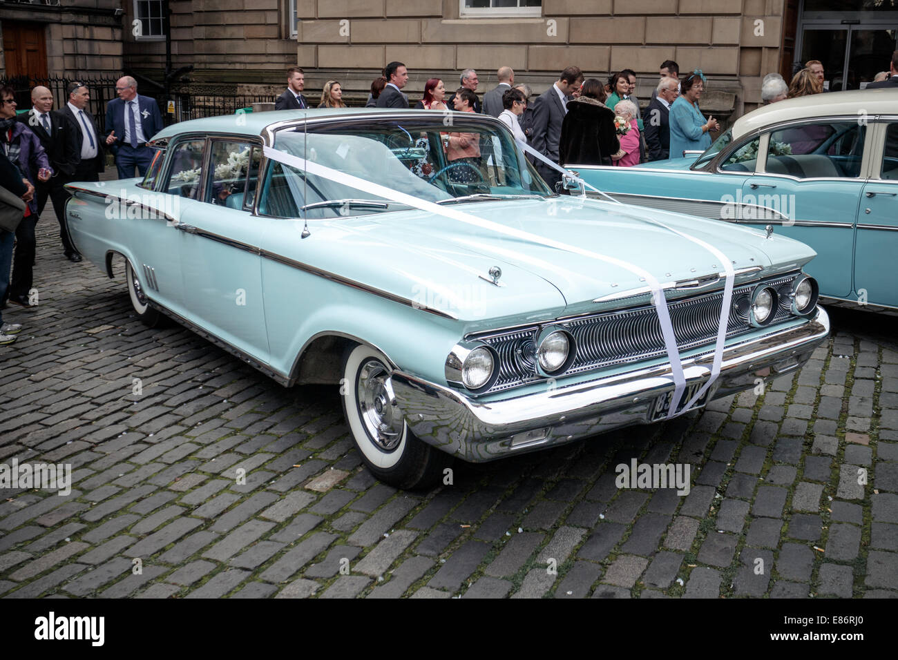 Vintage Mercury Wedding Car Old Town Edinburgh