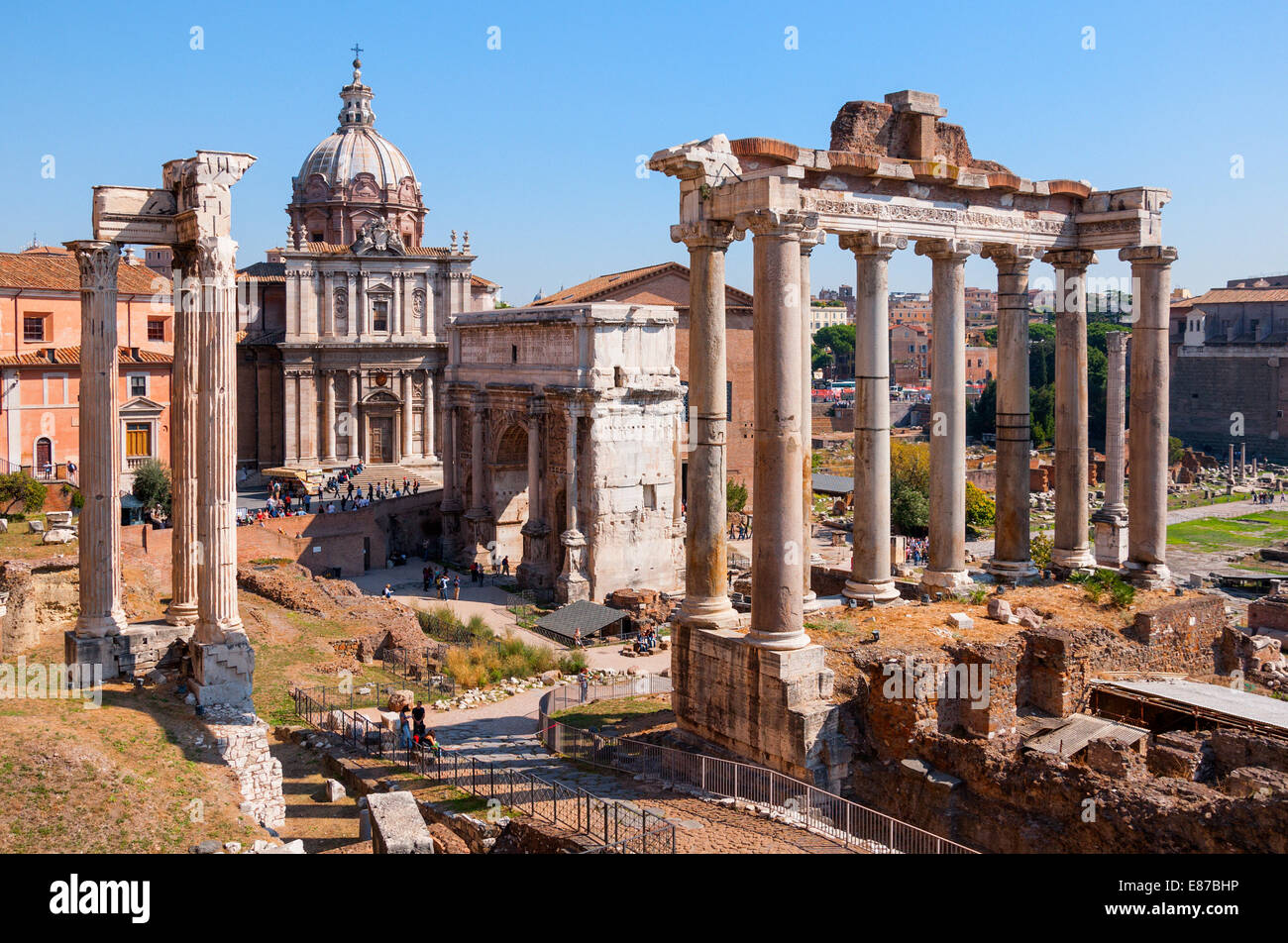 The Roman Forum, a landmark site with the ruins of ancient ...