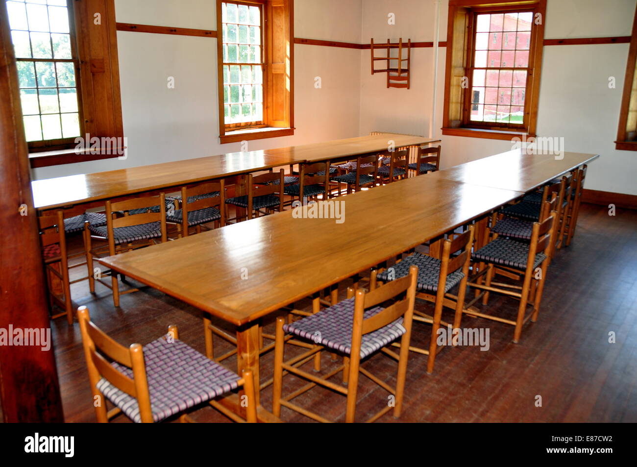 hancock massachusetts wooden communal dining tables and chairs