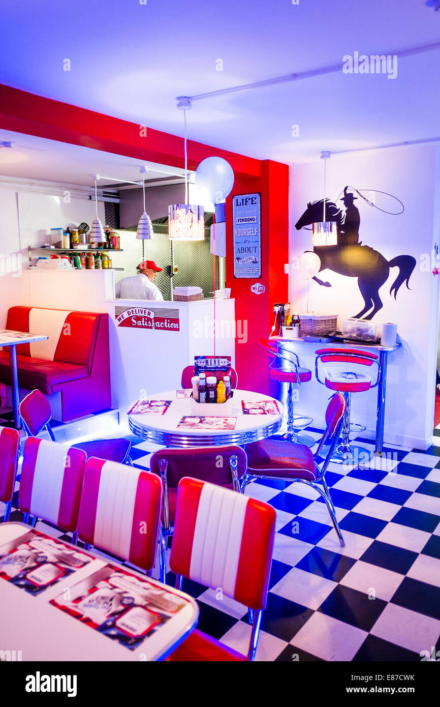 "interior: ""aberyankee"" american diner style themed cafe restaurant"