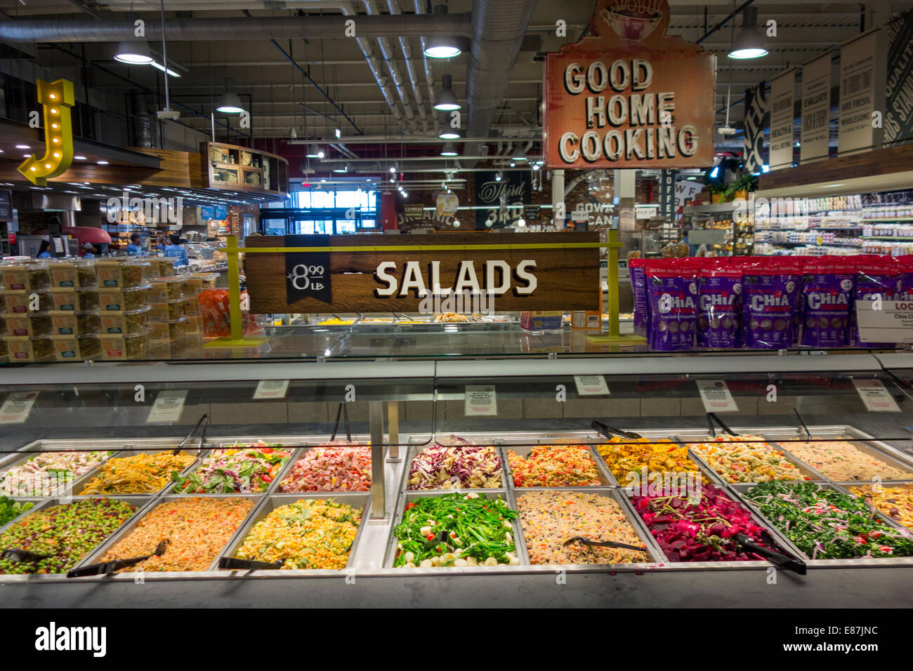 Salad bar in whole foods store brooklyn stock photo for Organic food bar