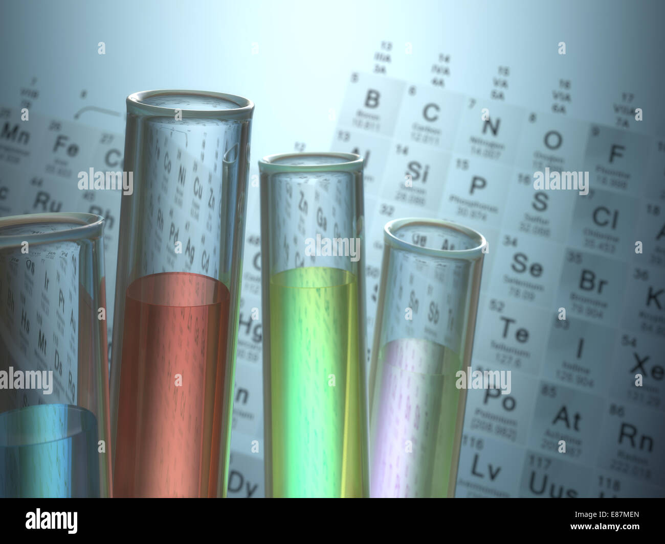 Test tubes with chemical elements inside and periodic table on stock photo test tubes with chemical elements inside and periodic table on background gamestrikefo Image collections