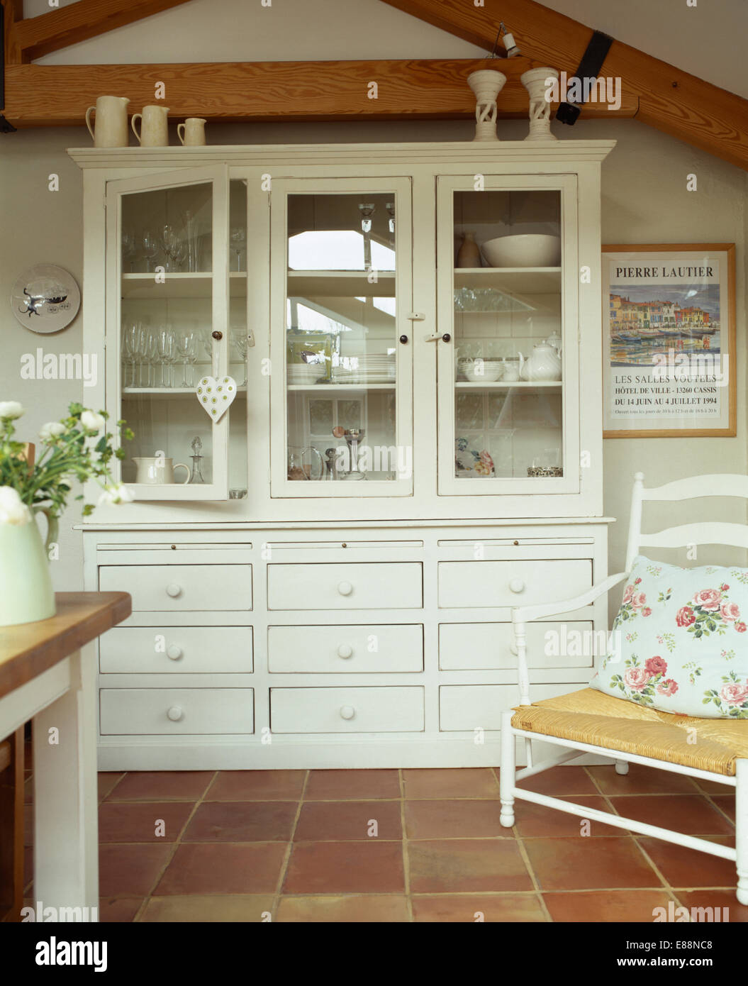 Terra Cotta Floor Tile Kitchen White Painted Dresser In Country Kitchen With Terracotta Tiled