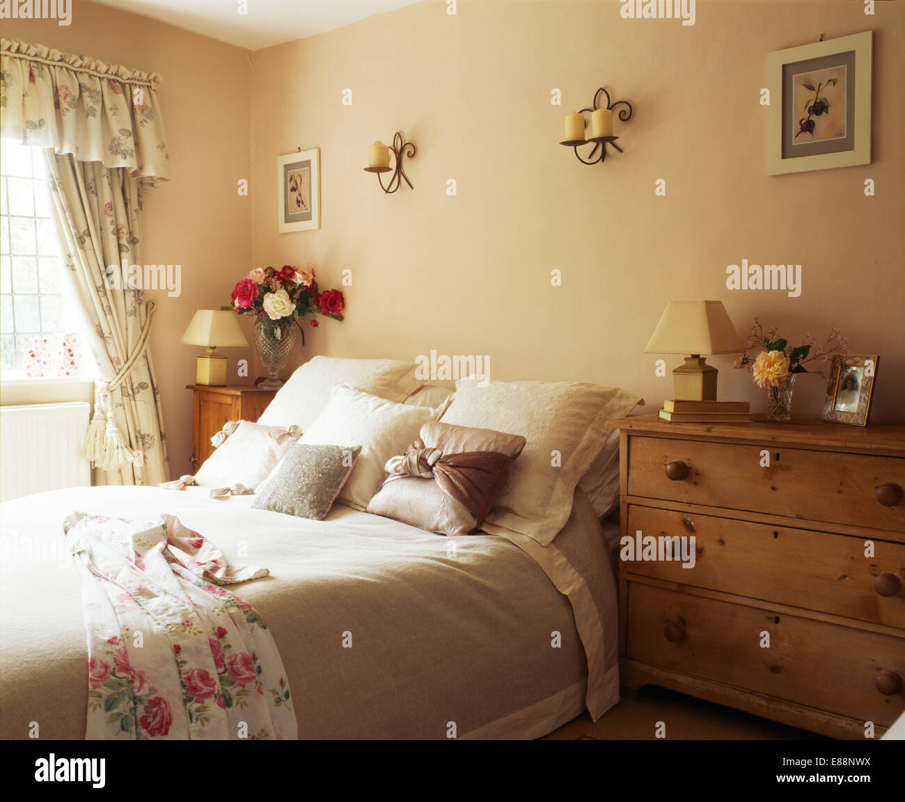 Pine Bedroom Chest Of Drawers Pine Chest Of Drawers Beside Bed With Cushions And Satin Trimmed