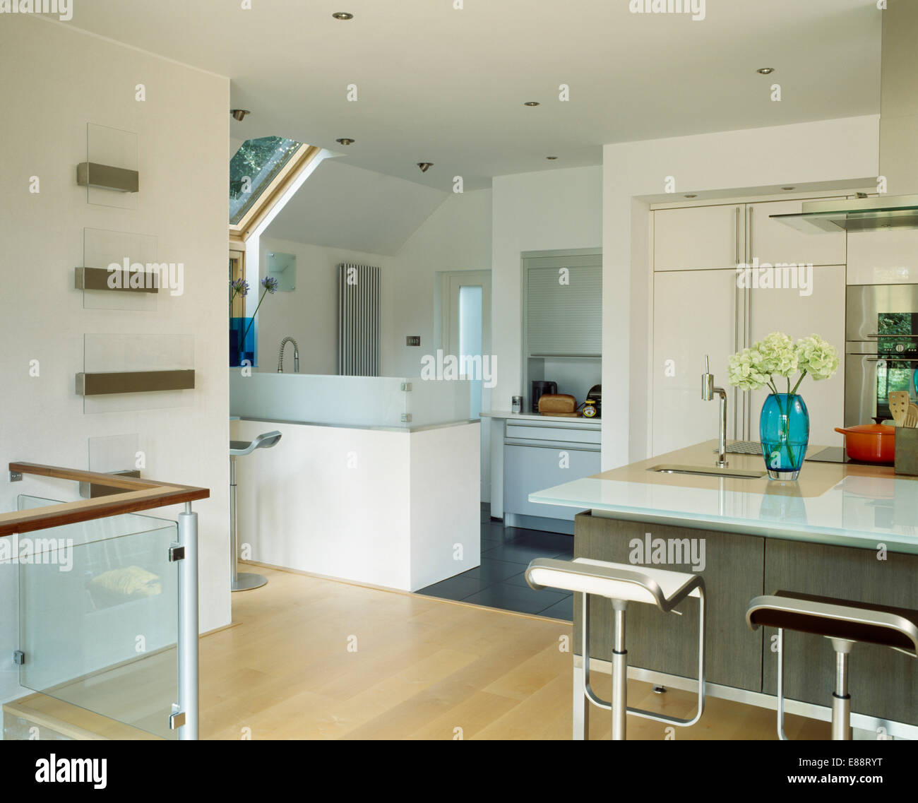 Extension Kitchen Stools At Breakfast Bar In Modern White Kitchen Extension With