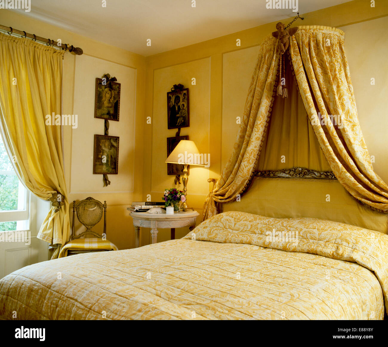 Pale Yellow Bedroom Coronet With Patterned Yellow Drapes Above Bed With Pale Yellow
