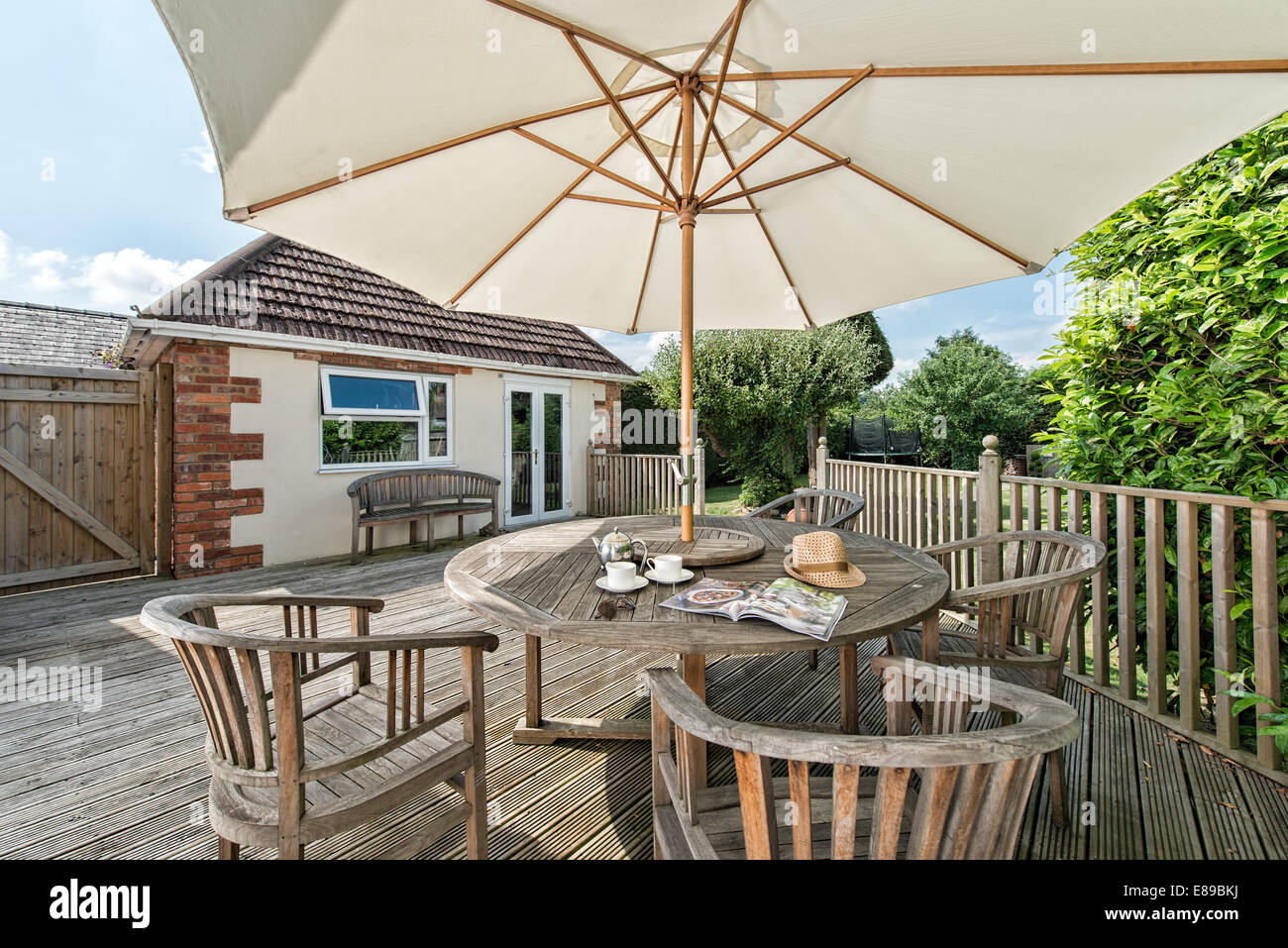 Amazing A Large Parasol Covering Afternoon Tea Served On A Wooden Garden Table U0026  Furniture. Outside On Sunny Day. UK