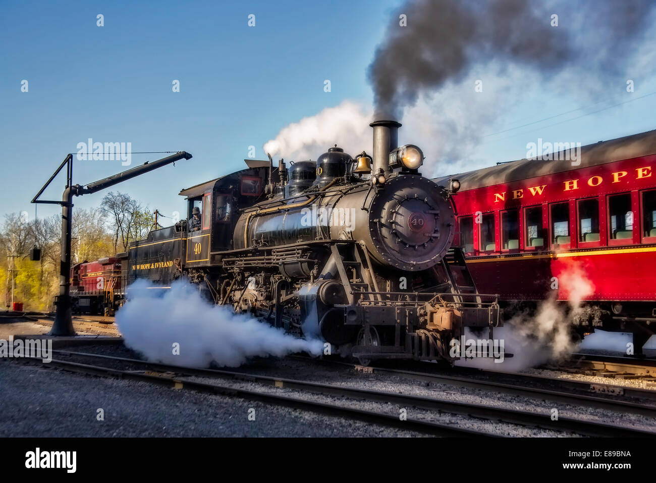 Antique Steam Train at the New Hope, PA train station Stock Photo ...