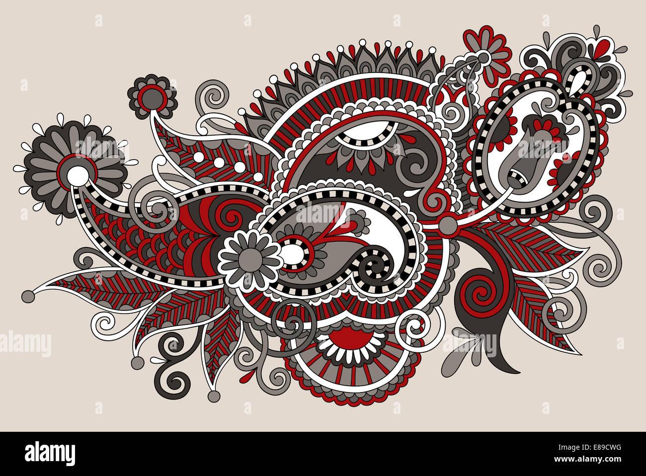 Line Art Flower Design : Original digital draw line art ornate flower design ukrainian t