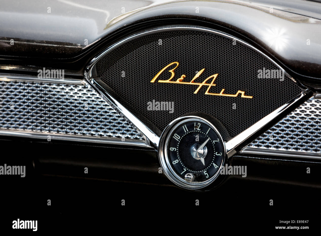 1955 chevy belair interior view to this black and chrome belair emblem clock and